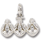 14K White Gold Three Little Monkeys Charm by Rembrandt Charms