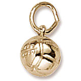 Gold Plate Volleyball Accent Charm by Rembrandt Charms