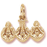 14K Gold Three Little Monkeys Charm by Rembrandt Charms