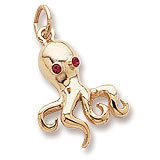 14K Gold Octopus with Stones Charm by Rembrandt Charms