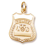 10k Gold Police Badge Charm by Rembrandt Charms
