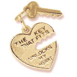 10K Gold Key and Heart Charm by Rembrandt Charms