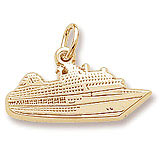 Gold Plate Flat Cruise Ship Charm by Rembrandt Charms