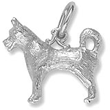 14K White Gold Husky Dog Charm by Rembrandt Charms