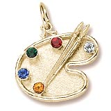 10K Gold Artist Palette and Stones Charm by Rembrandt Charms