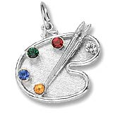 14K White Gold Artist Palette and Stones Charm by Rembrandt Charms