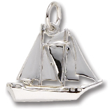14K White Gold Schooner Sailboat Charm by Rembrandt Charms
