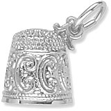 14K White Gold Thimble Charm by Rembrandt Charms