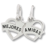 Sterling Silver Mejores Amigas Heart Charm by Rembrandt Charms