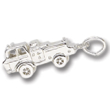 14K White Gold Fire Truck Charm by Rembrandt Charms