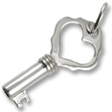 Sterling Silver Antique Heart Key Charm by Rembrandt Charms