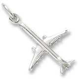 14K White Gold Medium Airplane Charm by Rembrandt Charms