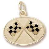 Gold Plated Racing Flags Charm by Rembrandt Charms
