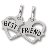 Sterling Silver Best Friends Heart Charm by Rembrandt Charms