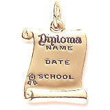 Gold Plated Graduation Diploma Charm by Rembrandt Charms