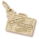 Gold Plate Suitcase Charm by Rembrandt Charms