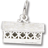 14K White Gold Covered Bridge Charm by Rembrandt Charms