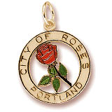 Gold Plated Portland City of Roses Charm by Rembrandt Charms