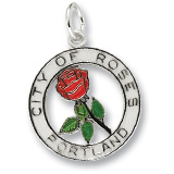 14K White Gold Portland City of Roses Charm by Rembrandt Charms