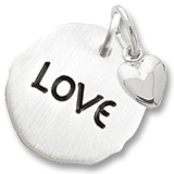 14K White Gold Love Charm Tag with Heart Accent by Rembrandt Charms