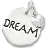 Sterling Silver Dream Charm Tag with Heart by Rembrandt Charms