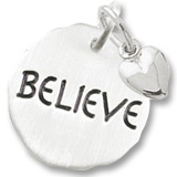 14K White Gold Believe Charm Tag with Heart by Rembrandt Charms