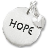 14K White Gold Hope Charm Tag with Heart Accent by Rembrandt Charms