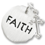 14K White Gold Faith Charm Tag with Cross by Rembrandt Charms