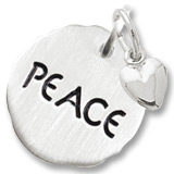 14K White Gold Peace Charm Tag with Heart by Rembrandt Charms