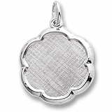 14K White Gold Blank Scalloped Disc Charm by Rembrandt Charms