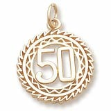 10K Gold Number 50 Charm by Rembrandt Charms