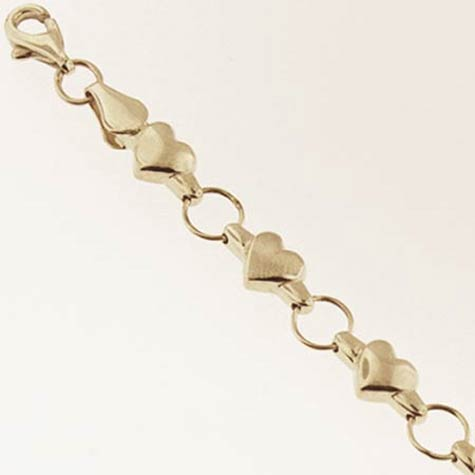 14k Gold Charm Bracelet with Hearts 5.7mm by 7 inches