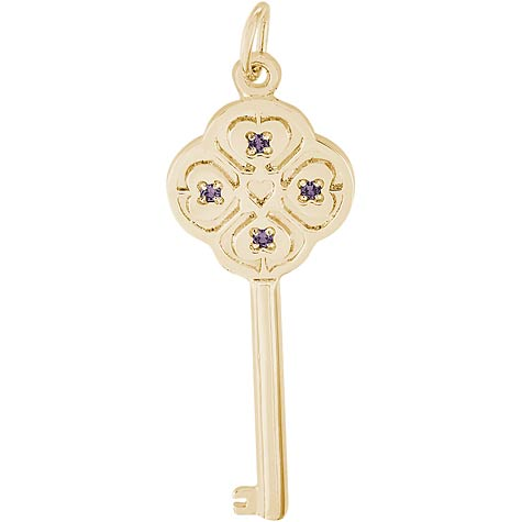 14K Gold Key to my Heart 06 June by Rembrandt Charms
