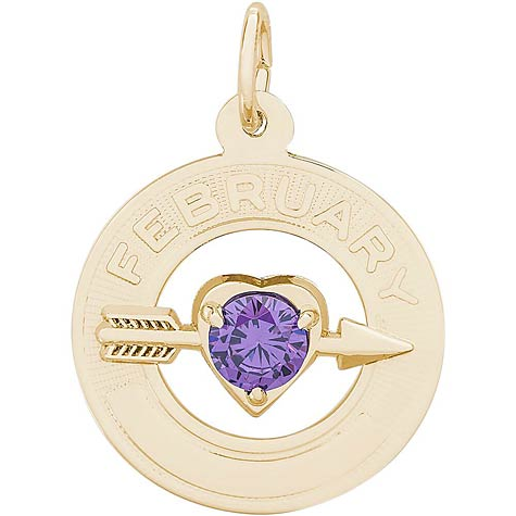 14k Gold 02 Feb Month of Love Charm by Rembrandt Charms