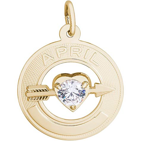 14k Gold 04 Apr Month of Love Charm by Rembrandt Charms