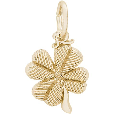 Gold Plate Four Leaf Clover Accent Charm by Rembrandt Charms