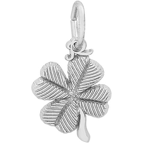 Sterling Silver Four Leaf Clover Accent Charm by Rembrandt Charms