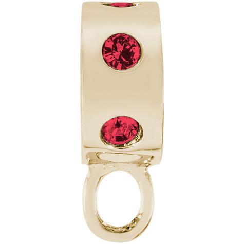 14K Gold Red Inlaid Stones CharmDrop by Rembrandt Charms