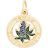10K Gold Texas Bluebonnets Charm