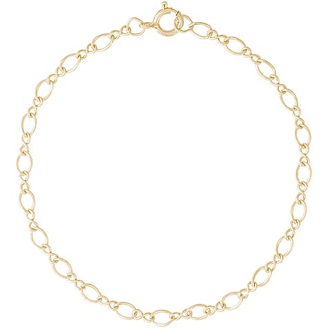 "Gold Plate Figure Eight 7"" Charm Bracelet by Rembrandt Charms"