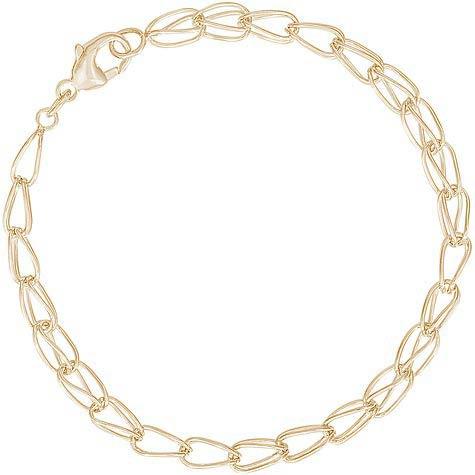 "14K Gold Fancy Link 7"" Charm Bracelet by Rembrandt Charms"