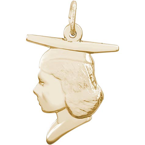 10k Gold Female Graduate Head Charm by Rembrandt Charms