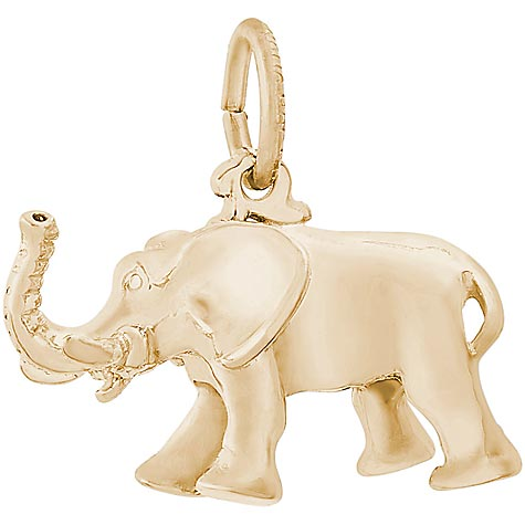 Gold Plate African Elephant Charm by Rembrandt Charms