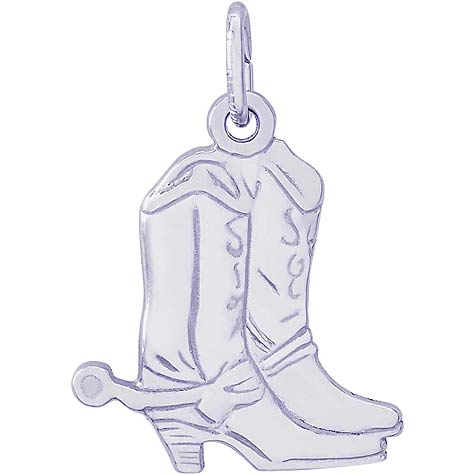 Sterling Silver Flat Cowboy Boots Charm by Rembrandt Charms