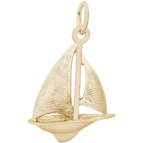 Gold Plate Sloop Sailboat Charm by Rembrandt Charms