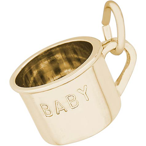 Gold Plate Inscribed Baby Cup Charm by Rembrandt Charms
