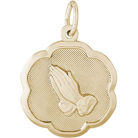 Gold Plated Praying Hands Scalloped Charm by Rembrandt Charms