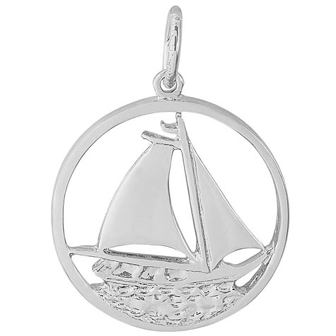 14K White Gold Sailboat in Circle Charm by Rembrandt Charms