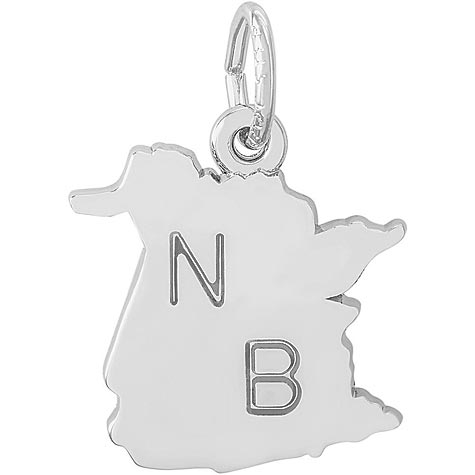 14K White Gold New Brunswick Map Charm by Rembrandt Charms