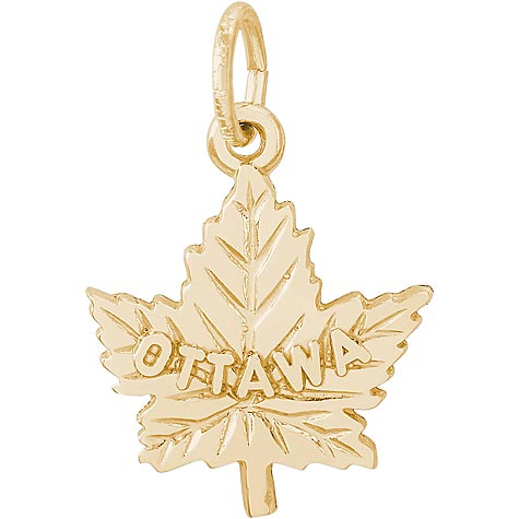 10K Gold Ottawa Maple Leaf Charm by Rembrandt Charms